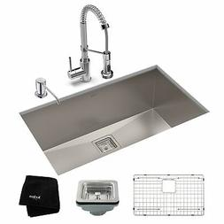 Kraus 28-1/2 in Stainless Steel Kitchen Sink, Faucet, Soap