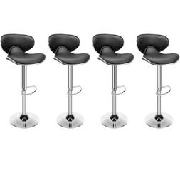 4/6x Bar Stools Adjustable PU Leather Counter Height Swivel