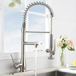 Brushed Nickel Kitchen Faucet  Pull Out Down Sprayer Swivel