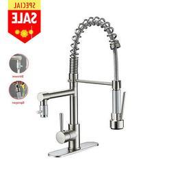 ULGKSD Brushed Nickel Kitchen Sink Faucet Pull Down Sprayer