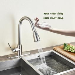 Convenient Brushed Nickel Touch Control Kitchen Faucet with