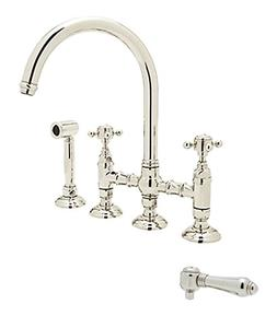 Rohl Country Kitchen Polished Nickel Bridge Faucet w Side Sp