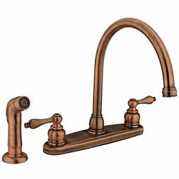 Double Handle Kitchen Faucet in Vintage Copper Finish