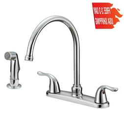 Ez-Flo 10201 Two-Handle Kitchen Faucet With Spray, Chrome