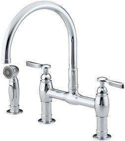 Kohler K-6131-4-CP Parq Deck-Mount Kitchen Faucet with Spray