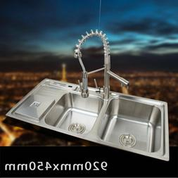 K Stainless Steel Kitchen Sink Vessel Set With Faucet Double