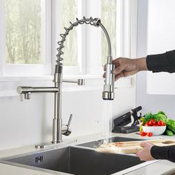 Kitchen Faucet Pull Down Sprayer Brushed Nickel Mixer Tap Wi