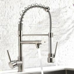 Kitchen Faucet Pull Down Sprayer Brushed Nickel Mixer Tap Si