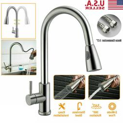 Kitchen Faucet Sink Pull Out Down Sprayer Swivel Spout Brush