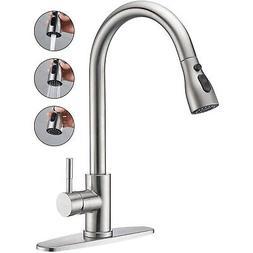 Kitchen Sink Faucet Swivel Spout Deck Mount Single Hole Mixe