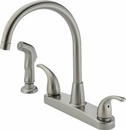 Kitchen Sink Faucet w/ Side Sprayer Brushed Nickel Two Handl