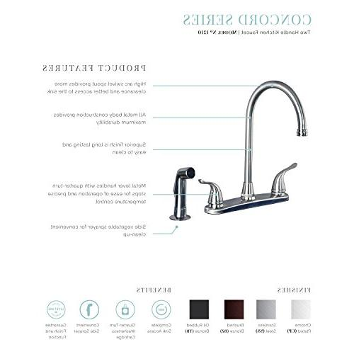 Builders Two Handle Arc Kitchen Faucet with Brushed Bronze