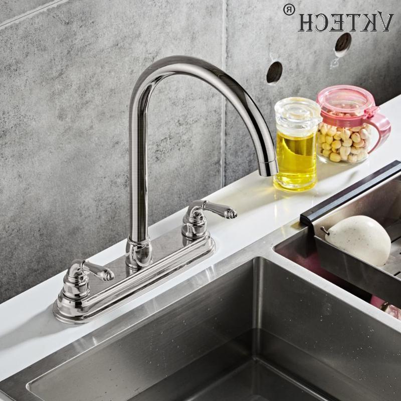 2-handle <font><b>Steel</b></font> <font><b>Faucet</b></font> Dual Hole Water Sink