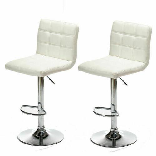 2 PCS Stools PU Leather Swivel Chairs