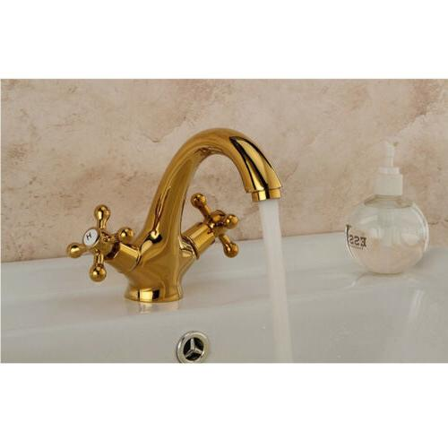 6 inches Dual Handles Antique Brass Kitchen Tap Mixer Water