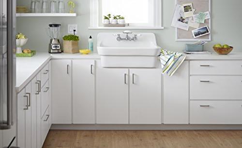 American Standard Wall-Mount 5-5/8-Inch Farm Sink Porcelain Handles, Chrome