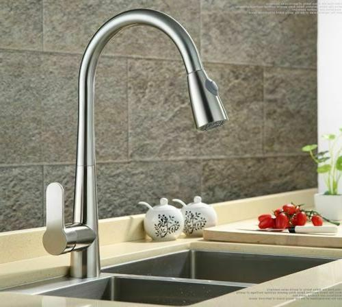 Brand New Pull Sprayer Faucet Brushed Nickel Single