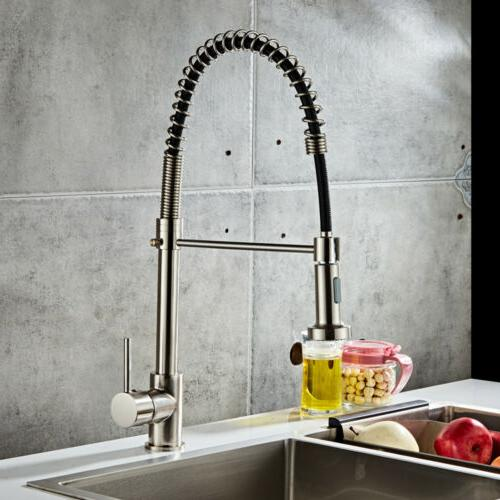 Brushed Finish Sink Faucet Pull Sprayer