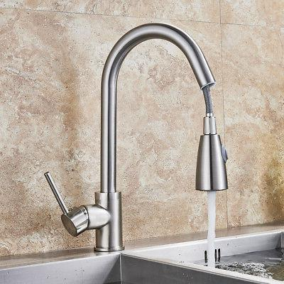 Brushed Nickel Kitchen Faucet Pull Sprayer Single Hole Mixer Tap