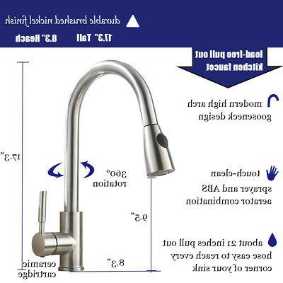 Brushed Kitchen Sink Faucet Pull Single Hole Swivel
