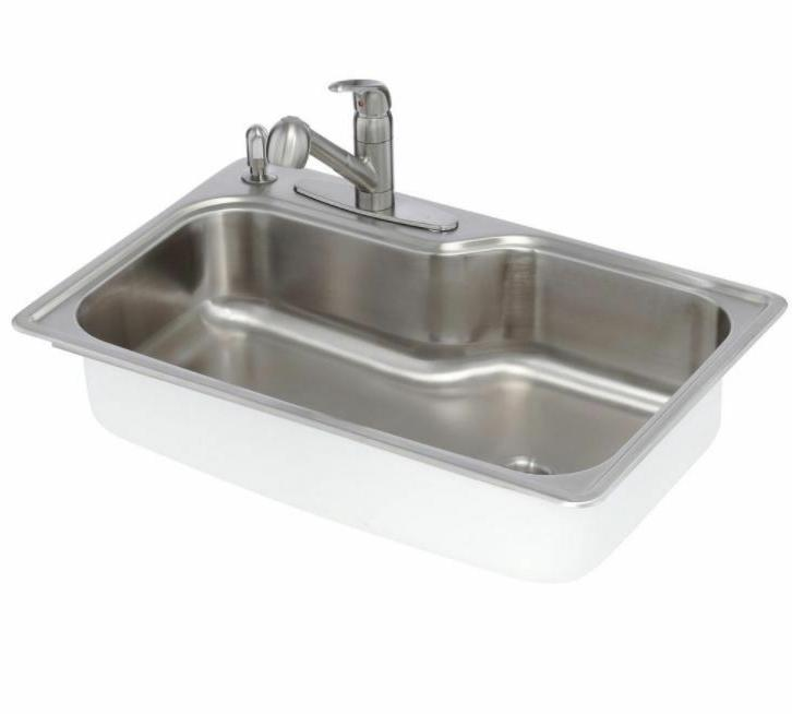 Kitchen Sink 33 Inch 18 In Stainless Steel 4 Hole