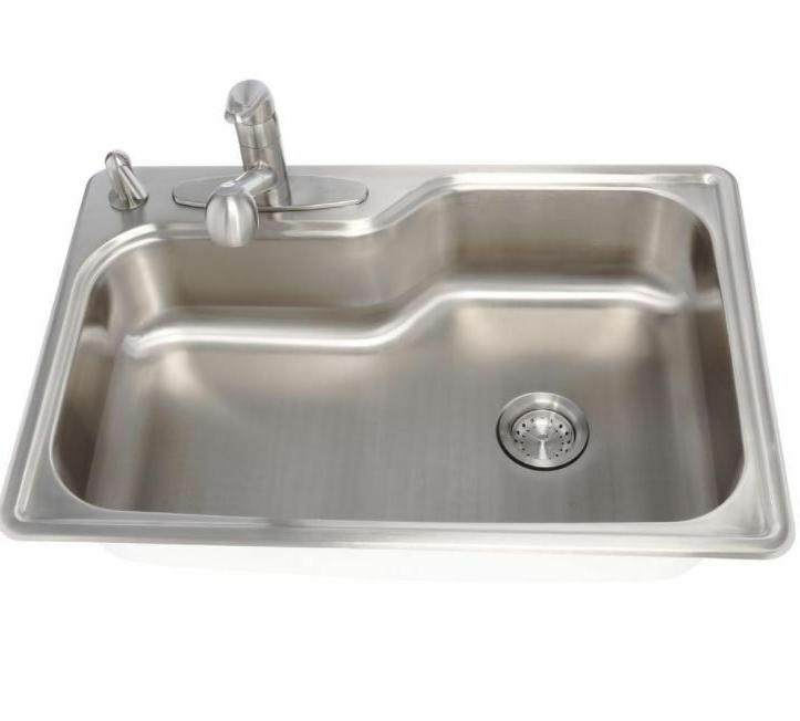 Kitchen 33 18 In Stainless Steel Bowl 4 Hole Faucet
