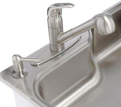 Kitchen Drop in Stainless Steel 33 in 4 Hole w/Faucet