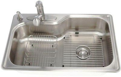 Kitchen Sink Single Drop Top Stainless 4 Hole