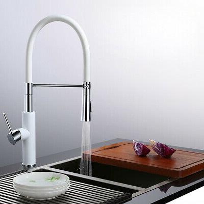 Modern White&Chrome Kitchen Faucet&Pull-Down Filler