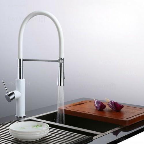 modern white and chrome kitchen faucet