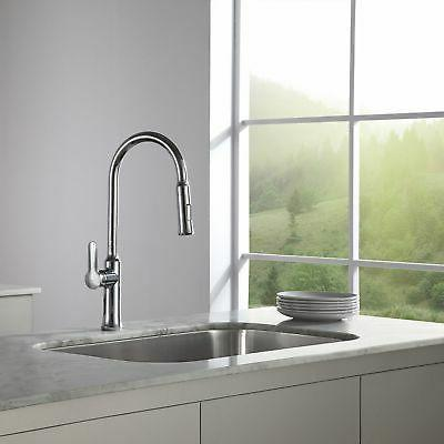 """Kraus 18"""" Single Lever Pull-Down Kitchen Stainless"""