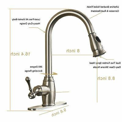 Pull Sprayer Kitchen Sink Faucet Single Stainless Steel