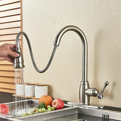 Pull Sprayer Sink Faucet Stainless Steel with
