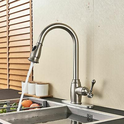 Pull Out Sprayer Sink Faucet Stainless Steel with