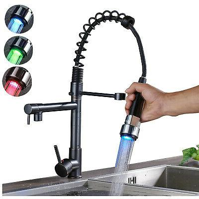 rotation kitchen faucet pull down led color