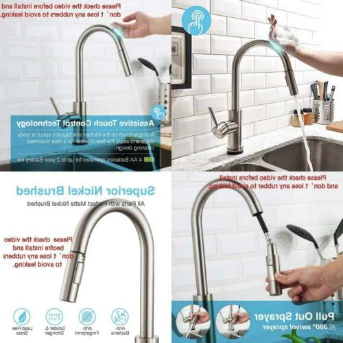 Touch Kitchen Faucets with Pull Down Sprayer, Kitchen Sink F