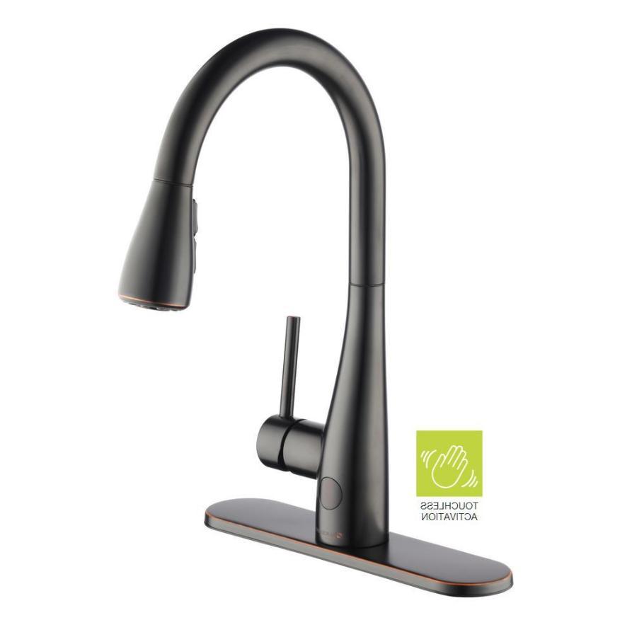 touchless kitchen faucet dark bronze single handle
