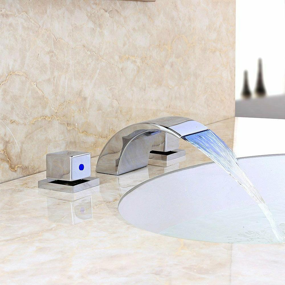Widespread Waterfall Faucet LED Basin