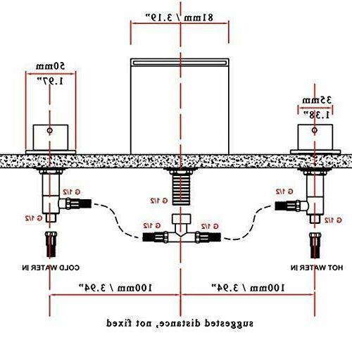 Widespread Waterfall Faucet Basin Mixer Tap