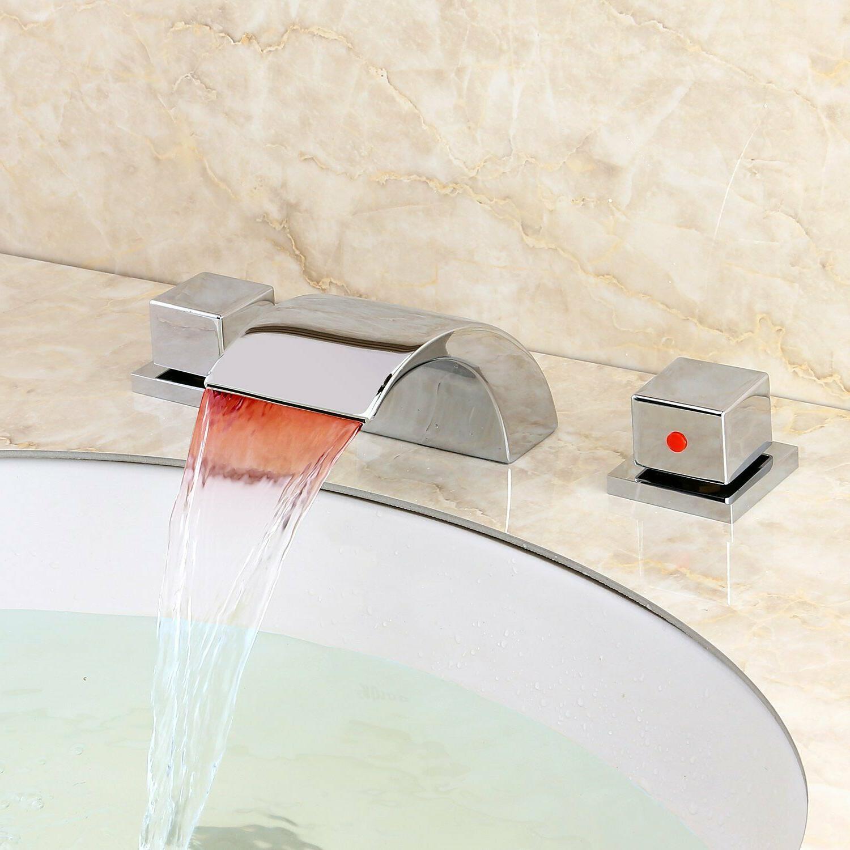 Widespread Waterfall Bathroom Sink Basin Mixer Tap