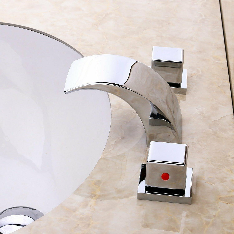 Widespread Waterfall LED Bathroom Sink Faucet Basin Tap