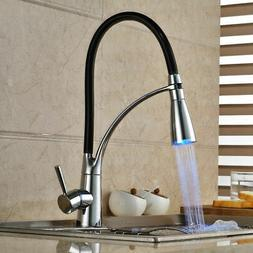 LED Lighted Kitchen Sprayer Faucet with Retractable Pullout