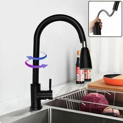 Matt Black Stainless Steel Kitchen Sink Faucet Pull Out Spra