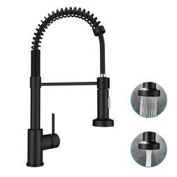 Matte Black Kitchen Sink Faucet Single Handle Spring Pull Do