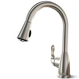 Techo Single Handle Pull-out Kitchen Faucets, High Arc Brush