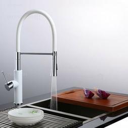 Modern White&Chrome Kitchen Faucet&Pull-Down Sprayer Single