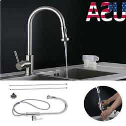 New Nickel Brushed Finish Pull Out Swivel Spout Kitchen Sink