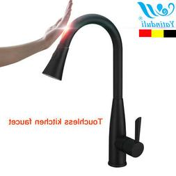 Black Motion Sensor Touch Kitchen Faucet with Pull Down Spra