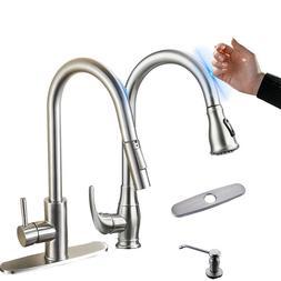 Sensor Touchless Kitchen Sink Faucet Pull Down Sprayer Brush