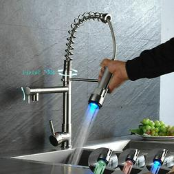 Kitchen Sink Faucet Pull Down Sprayer Brushed Nickel LED Swi